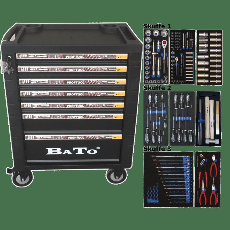 BATO Værktøjsvogn 7 skuffer 132 dele