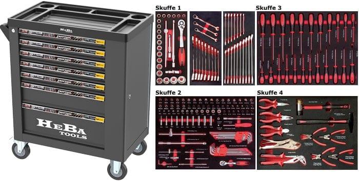 HEBA Tools Værktøjsvogn med 7 skuffer og sideskab - 183 dele