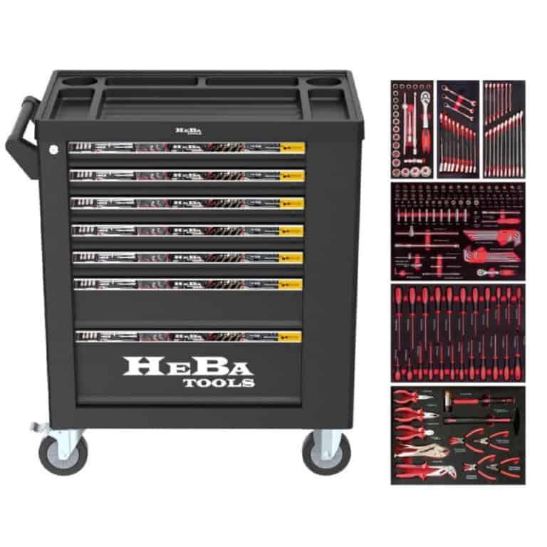 HEBA tools værktøjsvogn med 7 skuffer og sideskab 183 dele