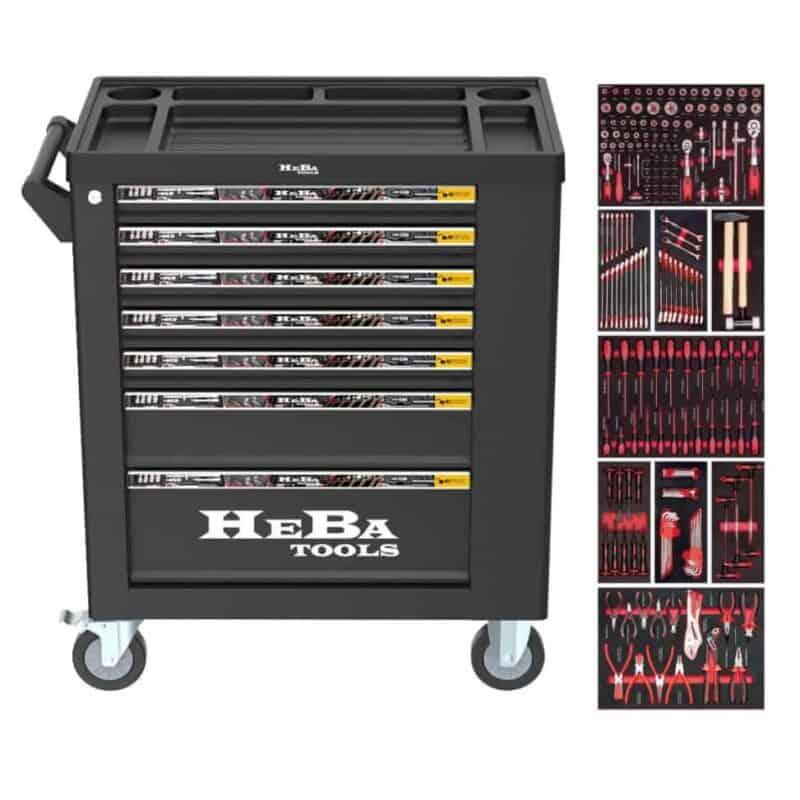 HEBA tools værktøjsvogn med 7 skuffer og sideskab 206 dele